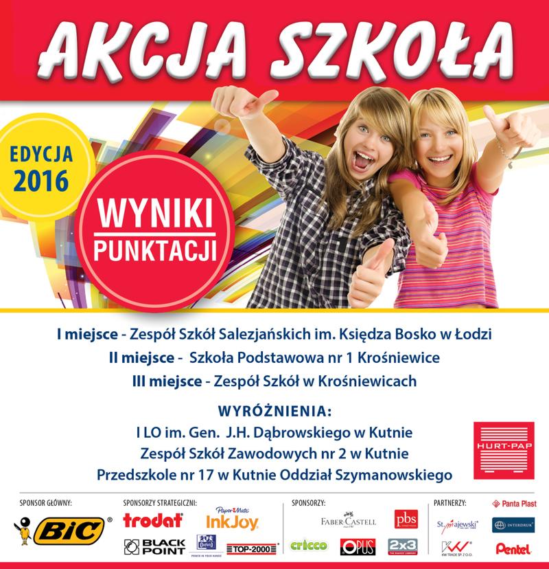 Akcja Szkoła 2016 - wyniki